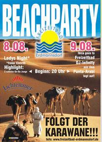 Plakat für Beachparty im Bad Erdmannsdorf